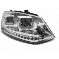 LED tube koplamp unit, geschikt voor VW POLO 6R 2009 tot maart 2014 - Chrome